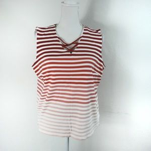 K16 Talbots Red Pink White Stripe Tank Top Size 1X